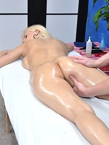 Hot 18 year old blonde slut gets fucked hard by her massage therapist!