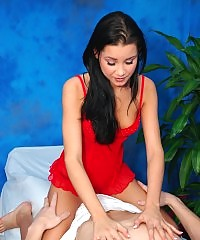 Hot and Sexy brunette gives a sexy massage with a happy ending!